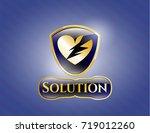 gold emblem with broken heart... | Shutterstock .eps vector #719012260