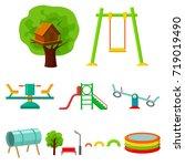 play garden set icons in... | Shutterstock . vector #719019490