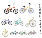 collection of bikes with... | Shutterstock . vector #719020576