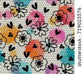 seamless pattern. vintage lace. ... | Shutterstock .eps vector #719023576