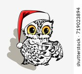 cute christmas owl with cup of... | Shutterstock .eps vector #719023894