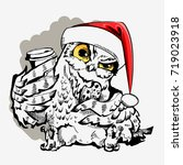 cute christmas owl with cup of... | Shutterstock .eps vector #719023918