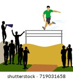 athlete jumping over an... | Shutterstock .eps vector #719031658