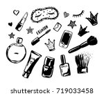 hand drawn set of fashionable... | Shutterstock .eps vector #719033458