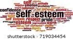 self esteem word cloud concept. ... | Shutterstock .eps vector #719034454
