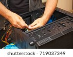 computer technician installs... | Shutterstock . vector #719037349