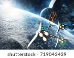 Five Space Ships Flying To The...