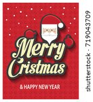 merry christmas greeting card... | Shutterstock .eps vector #719043709