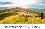 mountain range at sunset. a... | Shutterstock . vector #719044549