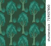 seamless trees pattern | Shutterstock .eps vector #719057800