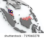 malaysia on globe with flag. 3d ...   Shutterstock . vector #719060278