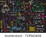 physical formulas and... | Shutterstock .eps vector #719062606