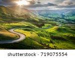 sunset at mam tor  peak... | Shutterstock . vector #719075554