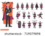 halloween dracula with pumpkin... | Shutterstock .eps vector #719079898