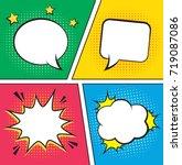 retro comic empty speech... | Shutterstock .eps vector #719087086