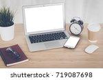 laptop with smart phone... | Shutterstock . vector #719087698