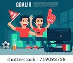 football sport fans watching tv ... | Shutterstock .eps vector #719093728