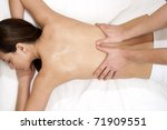 female receiving professional massage - stock photo