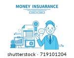 modern flat blue color line... | Shutterstock .eps vector #719101204