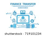 Modern flat blue color line vector editable graphic illustration, business finance concept, finance  transfer | Shutterstock vector #719101234