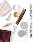 workplace in barbershop. razor  ... | Shutterstock . vector #719102404