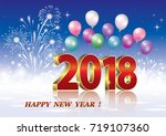 postcard happy new year of 2018 ... | Shutterstock .eps vector #719107360