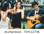 friends friendship party... | Shutterstock . vector #719112736