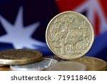 australian one dollar coin with ... | Shutterstock . vector #719118406