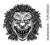 evil scary clown monster with... | Shutterstock .eps vector #719130610