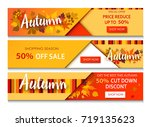 autumn sale text banners for... | Shutterstock .eps vector #719135623