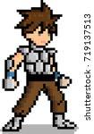 pixel art male warrior... | Shutterstock .eps vector #719137513