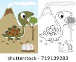 dino herbivore with eggs ...   Shutterstock .eps vector #719139283