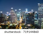internet network connection and ... | Shutterstock . vector #719144860
