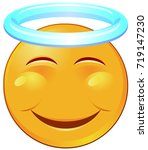 vector of a smiling holy emoji... | Shutterstock .eps vector #719147230