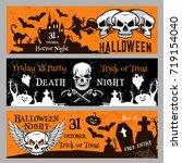 happy halloween friday 13 night ... | Shutterstock .eps vector #719154040