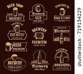 beer icons for brewery pub or... | Shutterstock .eps vector #719154229