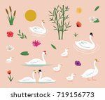 swan clip arts collection | Shutterstock .eps vector #719156773