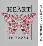 embroidery graphic with slogan | Shutterstock .eps vector #719169406