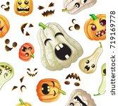 spooky halloween pumpkins... | Shutterstock .eps vector #719169778