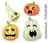 set pumpkins for halloween  | Shutterstock .eps vector #719169784