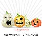 spooky halloween pumpkins card | Shutterstock .eps vector #719169790