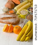 products rich of carbohydrates. ... | Shutterstock . vector #719171713