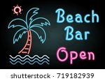 neon light with word beach bar... | Shutterstock .eps vector #719182939