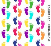 colorful footsteps. traces of... | Shutterstock .eps vector #719185936