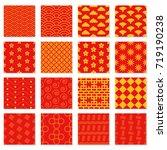 big set of seamless japanese... | Shutterstock .eps vector #719190238