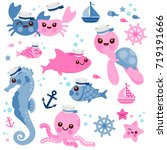 baby sea animals. marine...   Shutterstock .eps vector #719191666