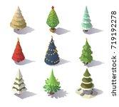 isometric christmas trees... | Shutterstock .eps vector #719192278