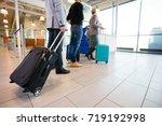 passengers standing on floor... | Shutterstock . vector #719192998