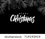 merry christmas greeting card... | Shutterstock .eps vector #719193919