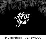 happy new year  postcard with... | Shutterstock .eps vector #719194006